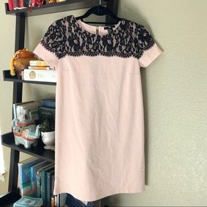 H&M Millennial Pink and Lace Dress